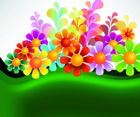 Bright Colorful flowers vector background set 05