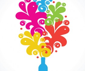 Colors floral Object vector backgrounds 01