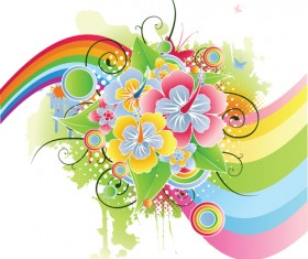 Colors floral Object vector backgrounds 02