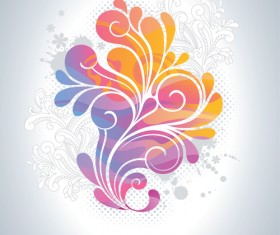 Colors floral Object vector backgrounds 03