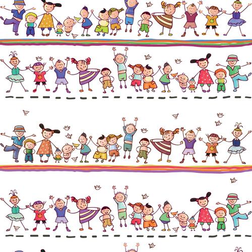 different happy kids design vector graphic 03