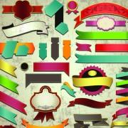 Link toDifferent retro ribbons labels mix vector set