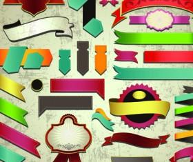 Different Retro ribbons labels mix vector set
