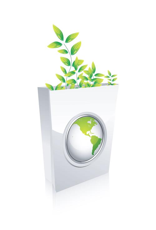 Elements of Green Ecologic elements vector set 06