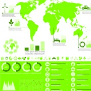 Link toSet of green ecology chart and infographic vector 04