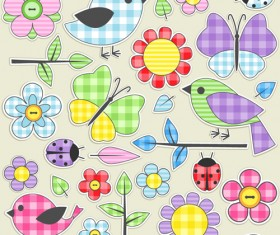 Fabric Animal and flower design vector
