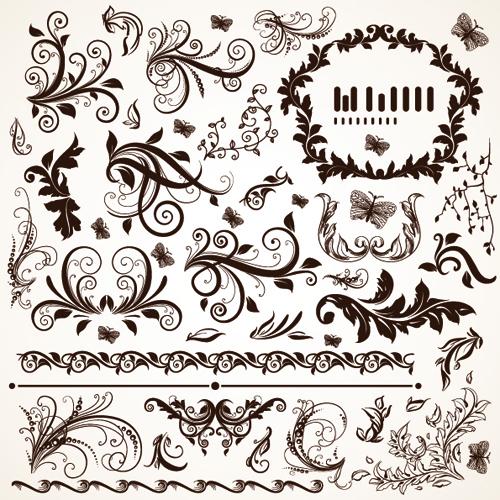 floral design ornaments elements mix vector 01 free download