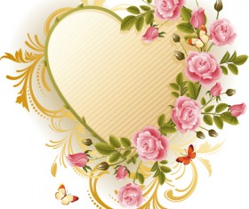 Set of Floral Heart elements vector 04