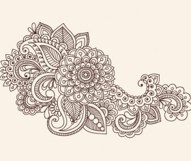 Set of Pretty Floral Ornaments design vector 04