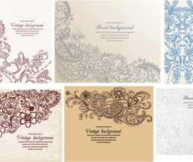Set of Pretty Floral Ornaments design vector 06