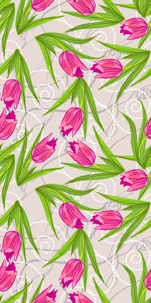 Set of different Flower Pattern elements vector 05