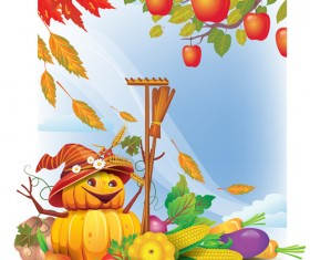 Funny Autumn pumpkins vector graphic 01