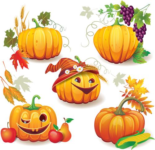 Funny Autumn pumpkins vector graphic 02