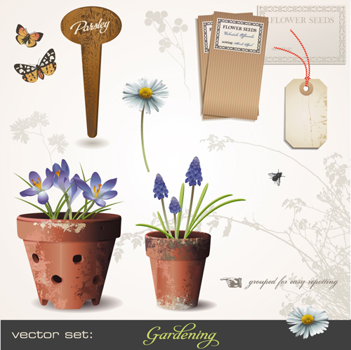 Vector set of Gardening Tool graphic 01 free download