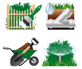 Vector set of Gardening Tool graphic 04