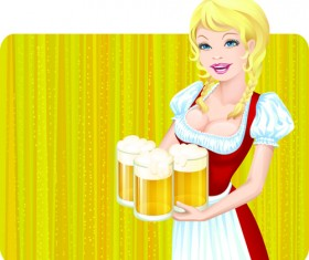Elements of Beautiful German girl vector 03