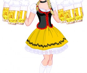 Elements of Beautiful German girl vector 05