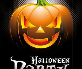 Halloween party background with pumpkin vector 02