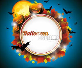 Halloween party background with pumpkin vector 03
