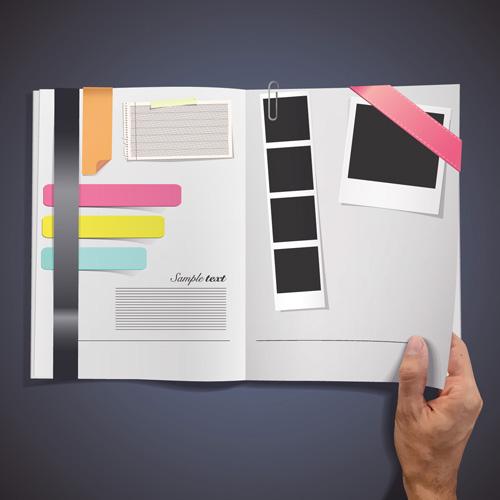 Hand Opened Blank Book design vector 01