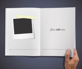 Hand Opened Blank Book design vector 02