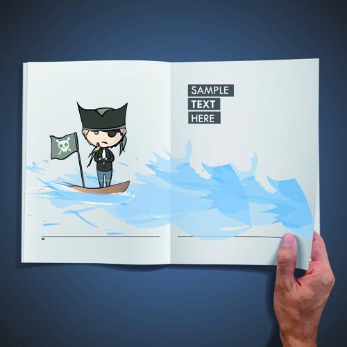 Hand Opened Blank Book design vector 03