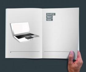 Hand Opened Blank Book design vector 05
