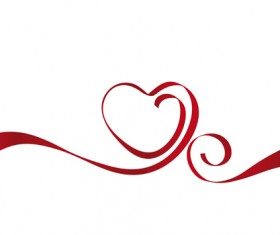 Creative Heart from red ribbon design vector 01