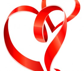 Creative Heart from red ribbon design vector 02