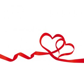 Creative Heart from red ribbon design vector 04
