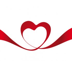 Creative Heart from red ribbon design vector 05