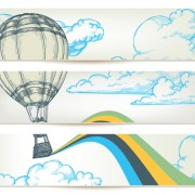 Link toHand drawn hot air balloon in the sky banner vector