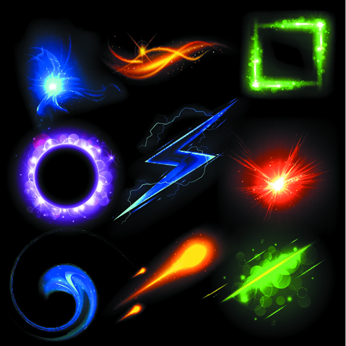 Different Light Effects Design Elements Vector 04 Over