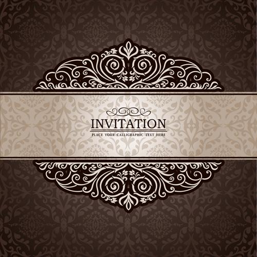 Set Of Wedding Invitation Badge:  Set Of Luxury Invitation Background Elements Vector 03