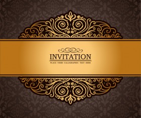 Set of Luxury invitation background elements vector 04