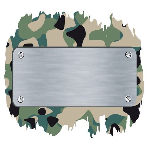 military elements frame vector 05