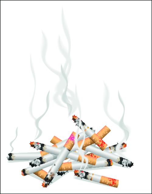 No Smoking Warning elements vector set 01