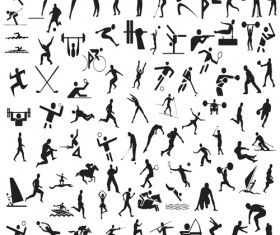 Different Olympic sports People Silhouettes vector 01
