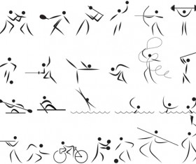 Different Olympic sports People Silhouettes vector 04