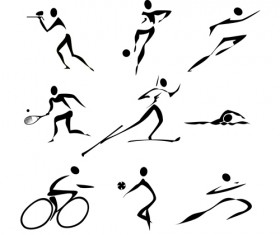 Different Olympic sports People Silhouettes vector 05