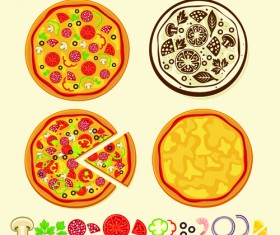 Creative Pizza design elements vector set 01