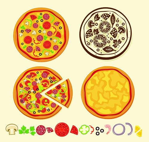 Creative pizza design elements vector set 01 vector food free