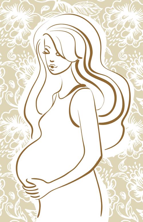 Pregnant Woman Design Elements Vector Set 04 Vector