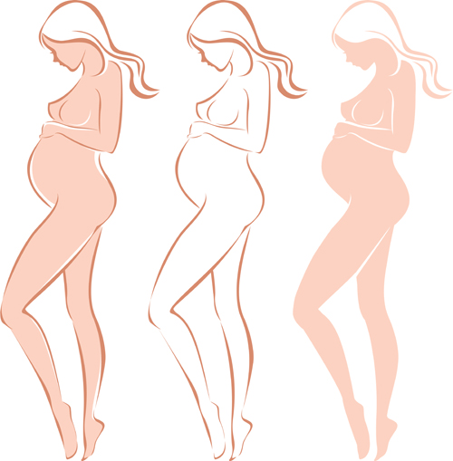 Pregnant woman design elements vector set 05