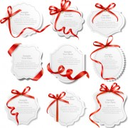 Link toRed ribbons with text cards vector 01