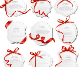 Red ribbons with text cards vector 01