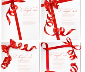 Red ribbons with text cards vector 02