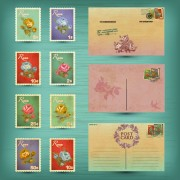 Link toRetro postcards and postage stamps design vector 02