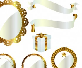 Ornate Ribbon and labels vector 03