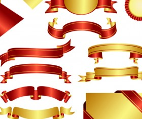 Ornate Ribbon and labels vector 04